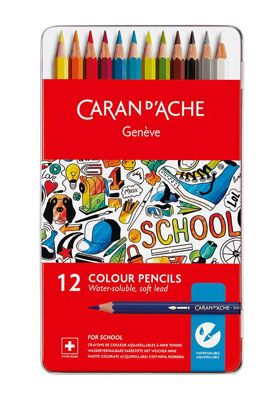 Tin of 12 water soluble colour pencils