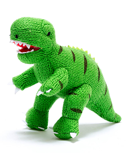 Knitted Mini T-rex Rattle Green