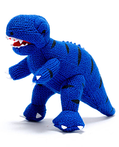 Knitted Mini T-rex Rattle Blue