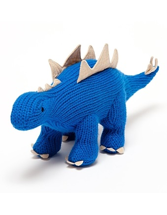 Blue Knitted Mini Stegorasaurus Rattle