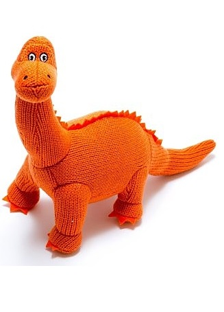 Knitted Mini Diplodocus Rattle Orange