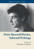 Peter Maxwell Davies, Selected Writings
