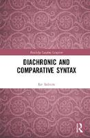 Diachronic and Comparative Syntax