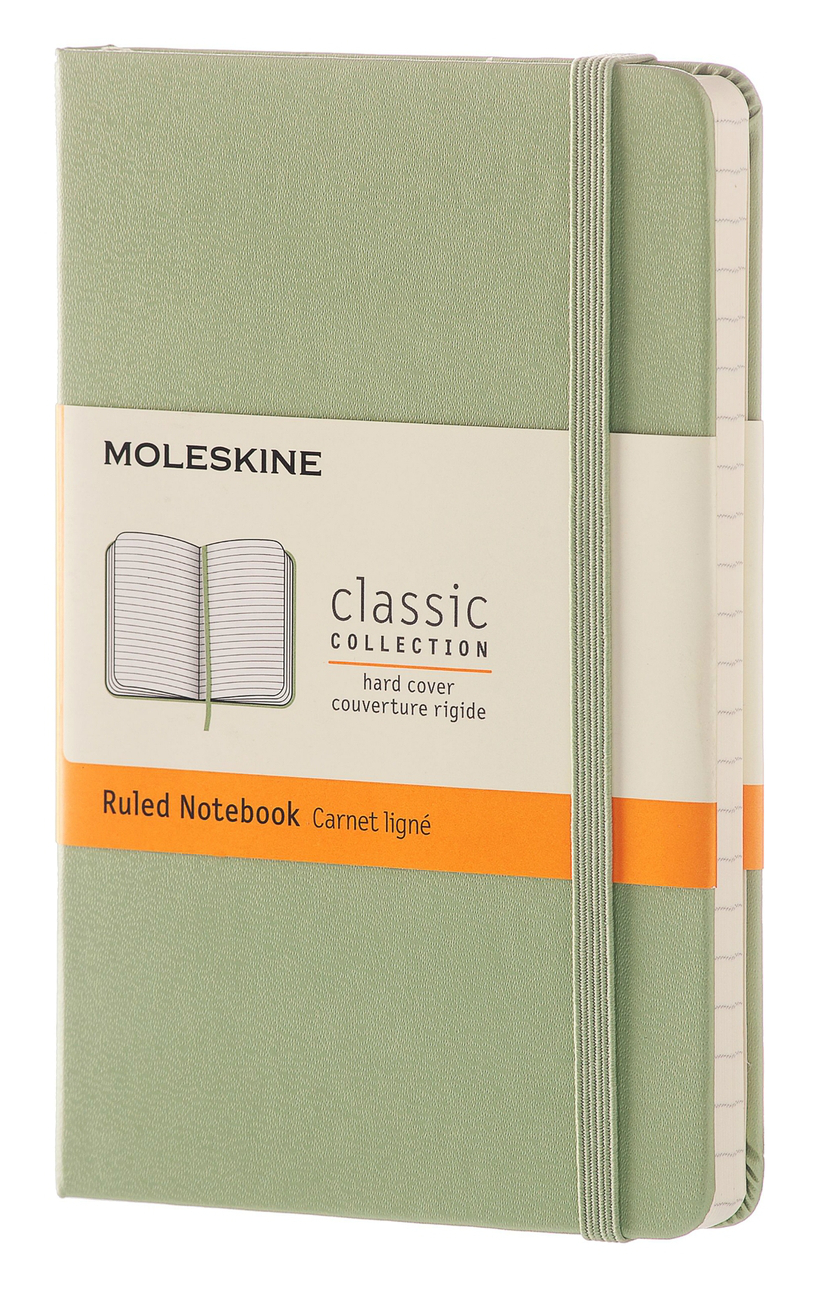 Willow Green Pocket Ruled Hard Notebook