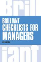 Brilliant Checklists for Managers