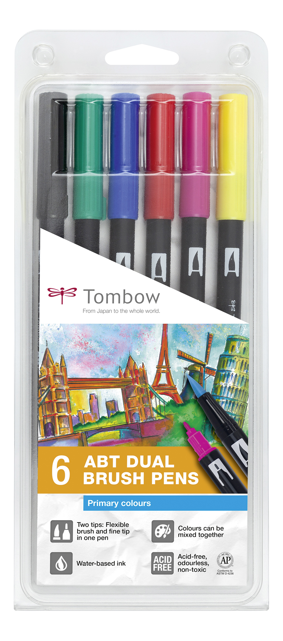 Primary Colour Dual Brush Pen pack of 6