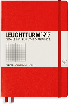 Red Medium Grid Hardcover Notebook