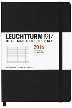 Black Medium Weekly Diary Planner 2016