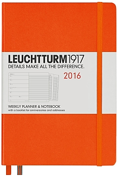 Orange Medium Weekly Diary Planner 2016