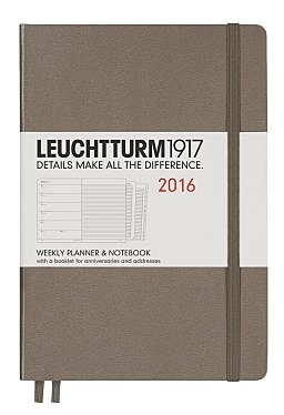 Taupe Medium Weekly Diary Planner 2016