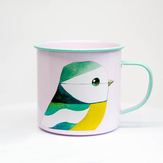 Blue Tit Enamel Mug by Matt Sewell