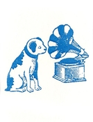 Dog listenting to Music Note Card