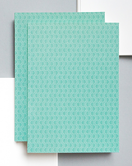 Viridian Blue Wave Print Note Book