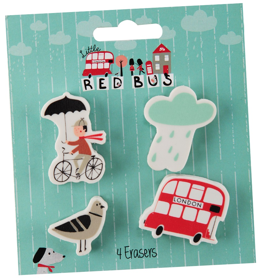 Little Red Bus Shaped Eraser Pack
