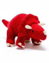 Knitted Mini Triceratops Rattle Red