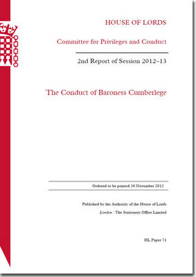 The Conduct of Baroness Cumberlege: House of Lords Paper 71 Session 2012-13