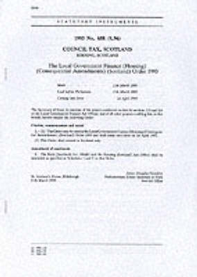 The Local Government Finance (Housing) (Consequential Amendments) (Scotland) Order 1993