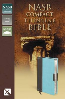 NASB, Thinline Bible, Compact, Leathersoft, Brown/Turquoise, Red Letter Edition