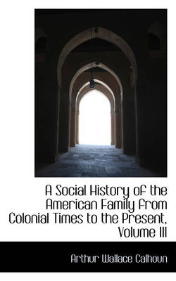 A Social History of the American Family from Colonial Times to the Present, Volume III