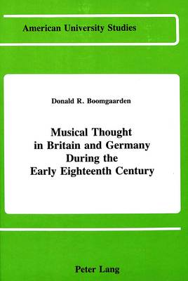 Musical Thought in Britain and Germany During the Early Eighteenth Century