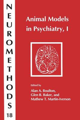 Animal Models in Psychiatry: v. 1