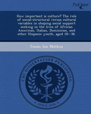 How Important Is Culture? the Role of Social-Structural Versus Cultural Variables in Shaping Social Support Seeking in the Lives of African American