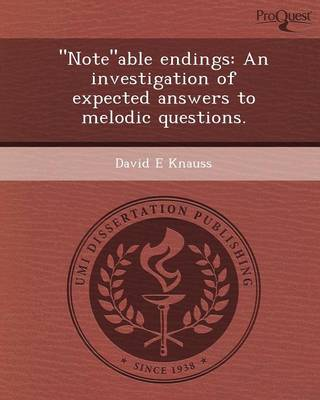 Noteable Endings: An Investigation of Expected Answers to Melodic Questions