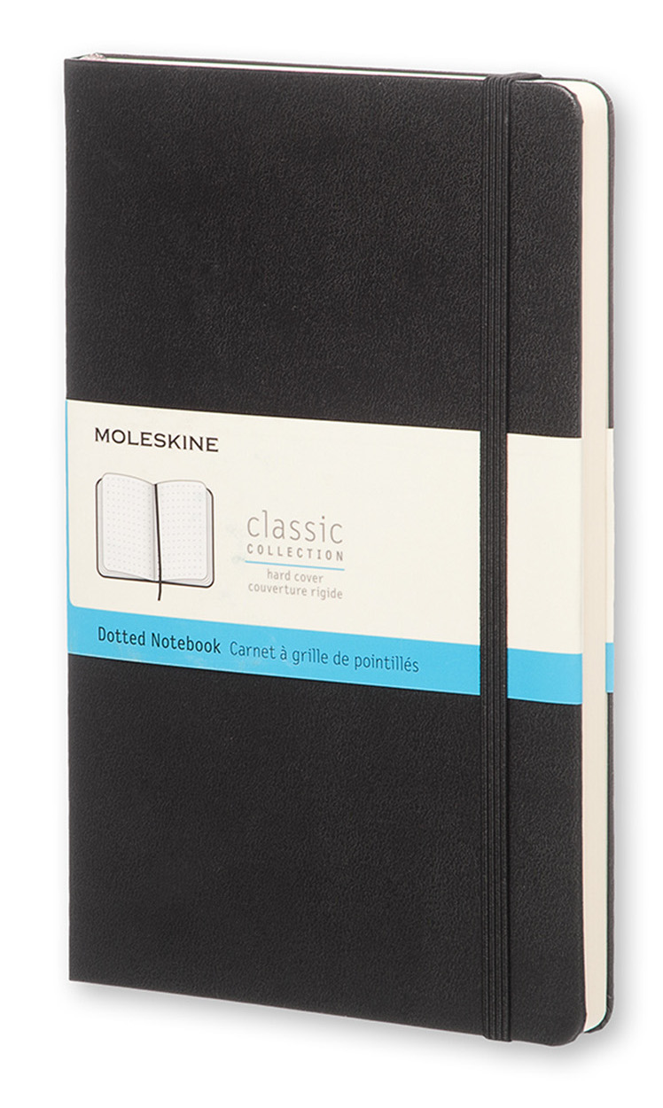 Classic Black Large Dotted Hard Notebook