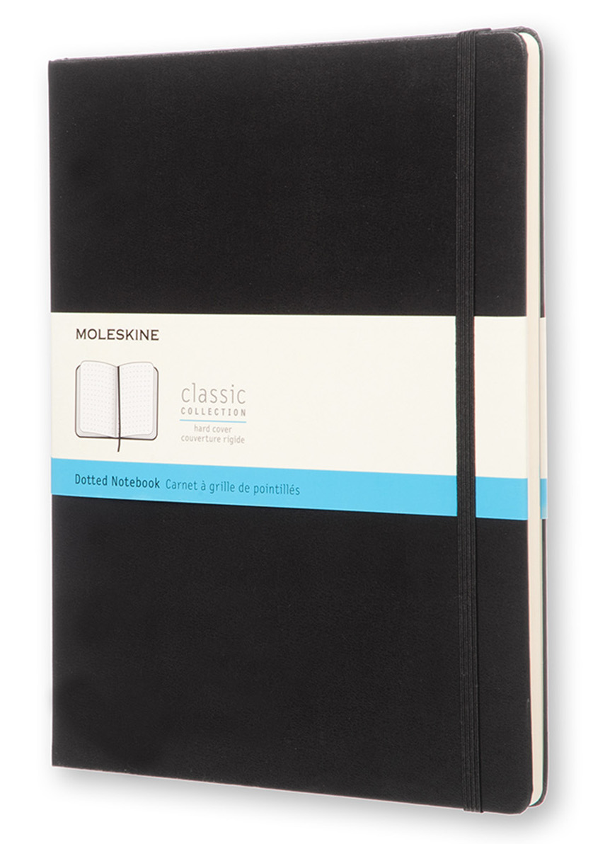Classic Black Extra Large Dotted Hard Notebook