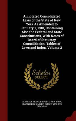 Annotated Consolidated Laws of the State of New York as Amended to January 1, 1910, Containing Also the Federal and State Constitutions, with Notes of Board of Statutory Consolidation, Tables of Laws and Index, Volume 3