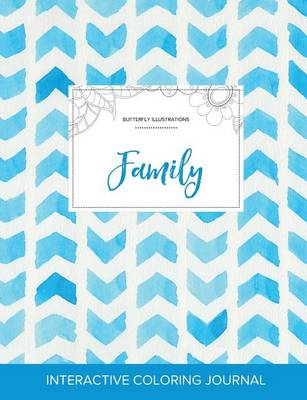 Adult Coloring Journal: Family (Butterfly Illustrations, Watercolor Herringbone)