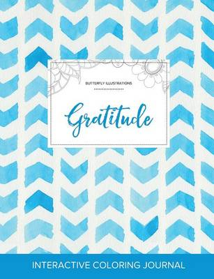 Adult Coloring Journal: Gratitude (Butterfly Illustrations, Watercolor Herringbone)