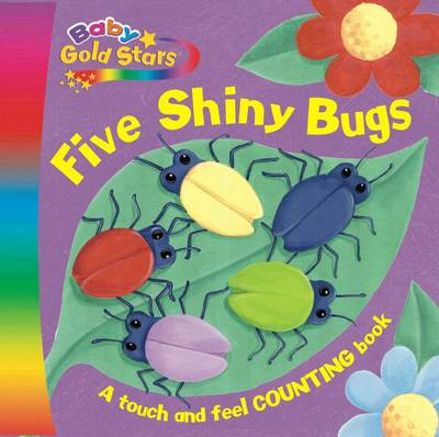 Baby Gold Stars Fabric Die-Cut Board: Five Shiny Bugs