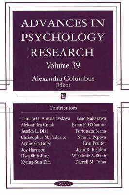 Advances in Psychology Research: Volume 39