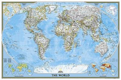 World Classic Poster Size Tubed Wall Maps World National