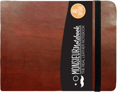 Monsieur Notebook - Real Leather Landscape A6 Brown Dot Grid