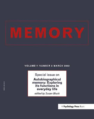 Autobiographical Memory: Exploring its Functions in Everyday Life: A Special Issue of Memory