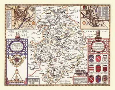 "John Speed Map of Warwickshire 1611: 20"" x 16"" Photographic Print of the County of Warwickshire - England"
