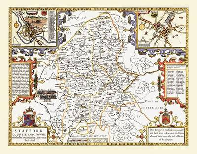 """John Speed Map of Staffordshire 1611: 20"""" x 16"""" Photographic Print of the County of Staffordshire - England"""
