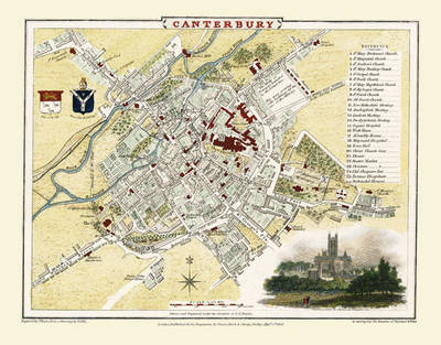 "Cole and Roper Old Map of Canterbury1806: 20"" x 16"" Photographic Print of City of Canterbury"