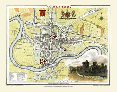 """Cole and Roper Old Map of Chester 1810: 20"""" x 16"""" Photographic Print of City of Chester"""