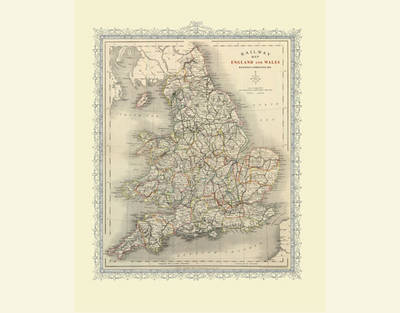 Railway Map of England and Wales 1852: Photographic Print of Railway Map of England and Wales 1852