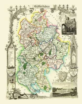 """Thomas Moule Map of Bedfordshire 1836: 20"""" x 16"""" Photographic Print of the County of Bedfordshire - England"""