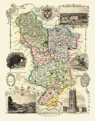 """Thomas Moule Map of Derbyshire 1836: 20"""" x 16"""" Photographic Print of the County of Derbyshire - England"""