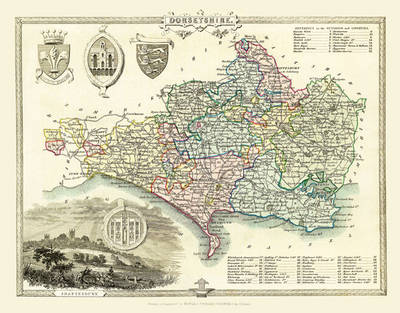 """Thomas Moule Map of Dorsetshire 1836: 20"""" x 16"""" Photographic Print of the County of Dorsetshire - England"""