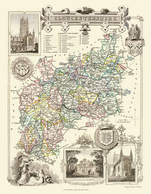 "Thomas Moule Map of Gloucestershire 1836: 20"" x 16"" Photographic Print of the County of Gloucestershire - England"