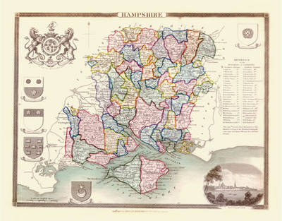 """Thomas Moule Map of Hampshire 1836: 20"""" x 16"""" Photographic Print of the County of Hampshire - England"""