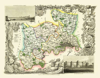"""Thomas Moule Map of Middlesex 1836: 20"""" x 16"""" Photographic Print of the County of Middlesex - England"""