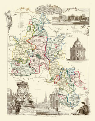 """Thomas Moule Map of Oxfordshire 1836: 20"""" x 16"""" Photographic Print of the County of Oxfordshire - England"""