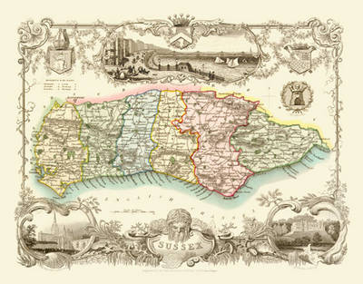 """Thomas Moule Map of Sussex 1836: 20"""" x 16"""" Photographic Print of the County of Sussex - England"""